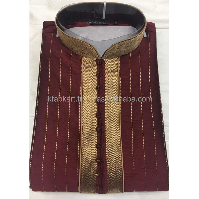 Wholesale Stylish Wedding / Function/ Festival Wear Man Maroon Raw Silk Kurta Pajama