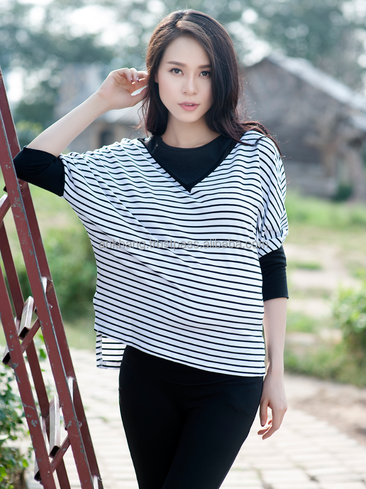 Cotton stripe maternity top