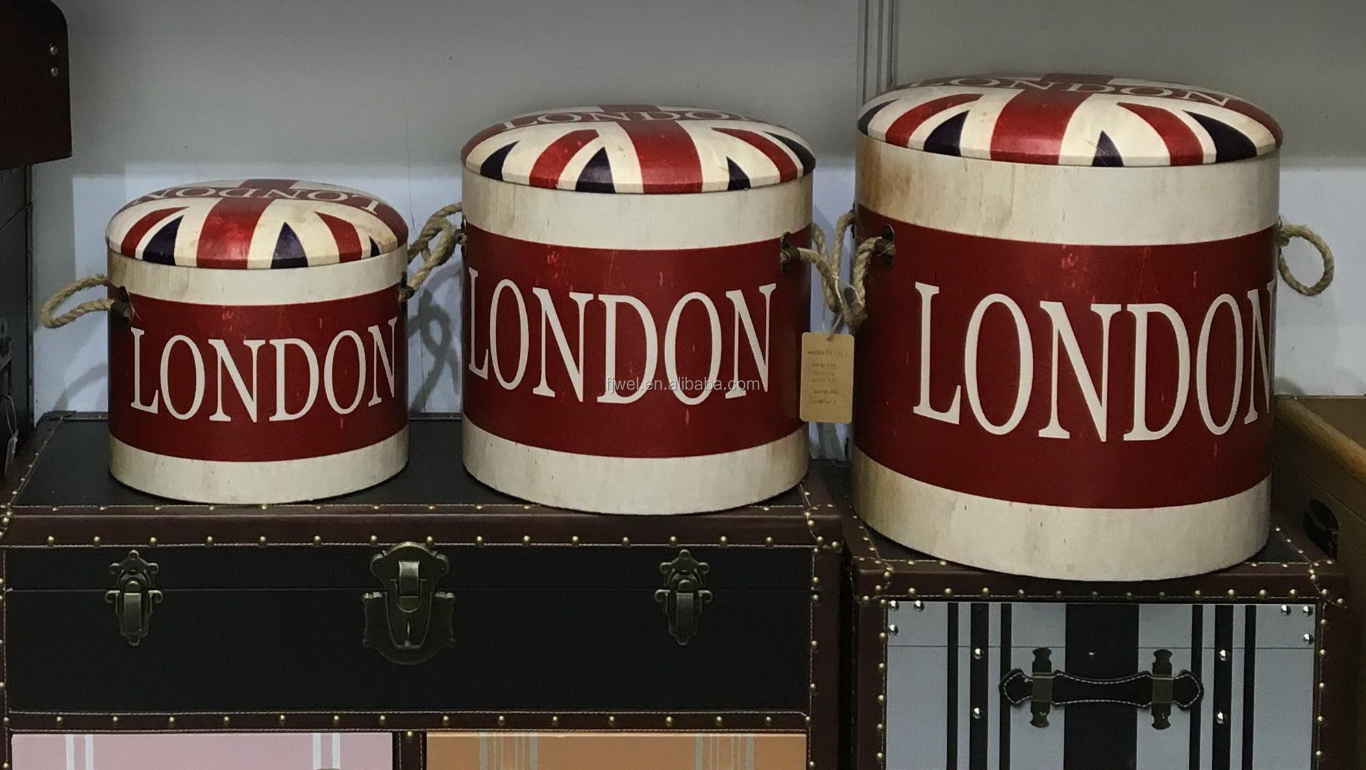 Union Jack Round Leather Storage Ottoman With Lids Buy