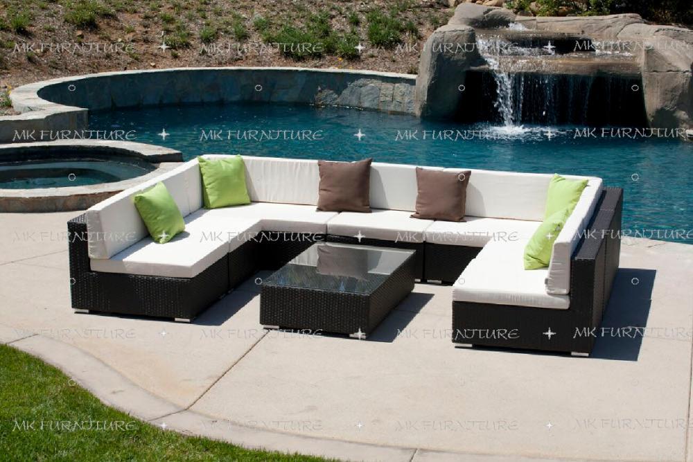 wicker synthetic rattan sofa u shape outdoor furniture poly rattan outdoor furniture sectional garden sofa
