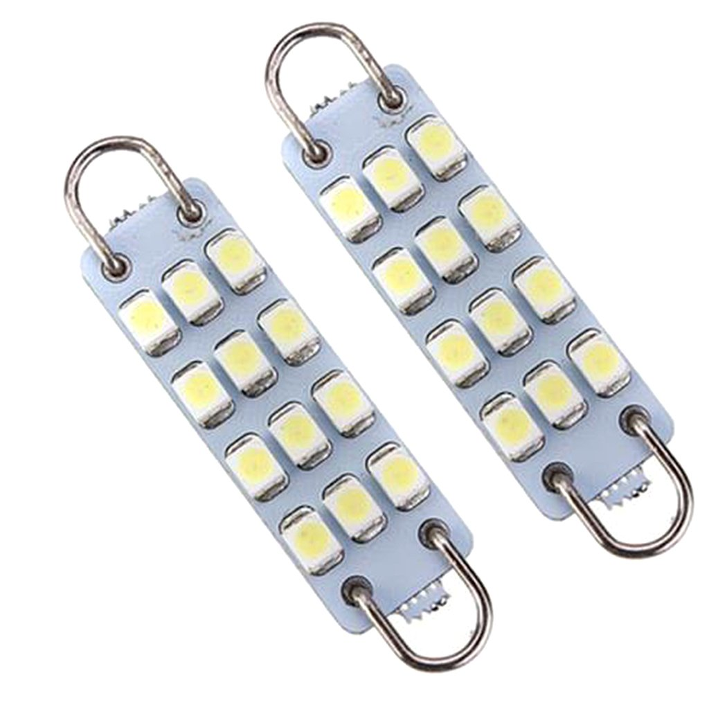 MagiDeal 1Pair White 43mm 211-2 212-2 214-2 578 12-SMD-3528 Rigid Loop LED Bulbs for Door Lights