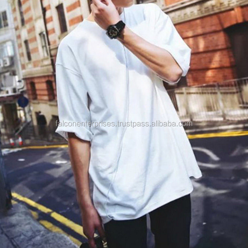 Fashion Hip Hop Men Short Sleeve T-Shirt O-Neck Oversized Solid Summer Tee Tops
