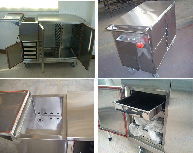 YFQ036 Stainless Steel Food Trolley With Heating