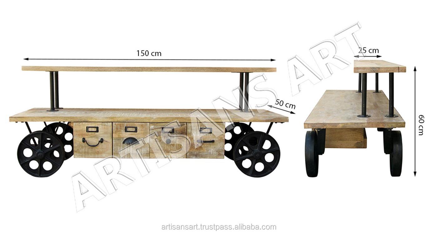 עמדת טלוויזיה עץ מתכת תעשייתי בציר 4 מגירה על גלגלים, יחידת טלוויזיה מודרני כפרי תעשייתי שחור מתכת ועץ