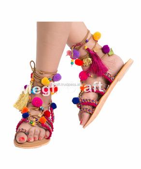 e6a5eede6877 Tie Up Gladiator Pom Pom Sandals-Fashion Greek Leather Sandal - Boho Pom  Pom Sandals