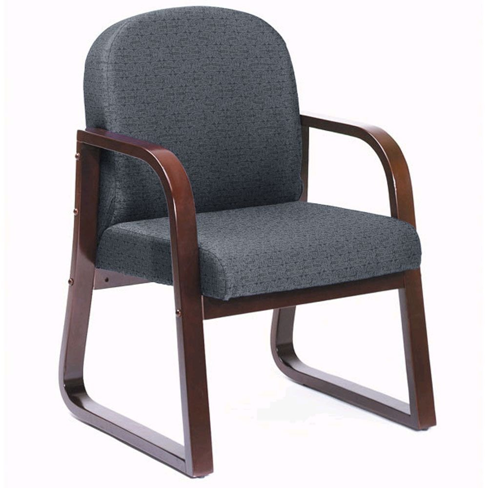 """Sled Base Wood Reception Chair - 24""""W x 22""""D x 29""""H Gray Fabric/Mahogany Frame Dimensions: 24""""W x 25""""D x 34""""H Seat Dimensions: 20""""Wx19""""Dx17.5""""H"""