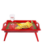 Vintage Red Hand Painted Handle Foldable Leg Wooden Coffee Breakfast Bed Serving Tray