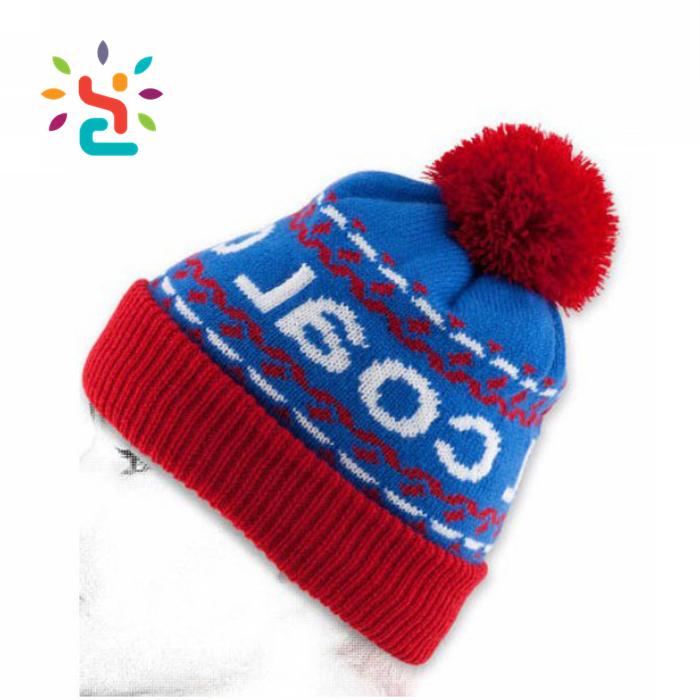 b22158fd4a1 Wholesale pompom hat running beanie hats baby boy girls wool Knitted hat  custom kids white jacquard