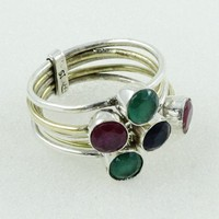 Attractive Multi Stone 925 Sterling Silver Turquoise Gem Stone Stackable Ring Jewelry