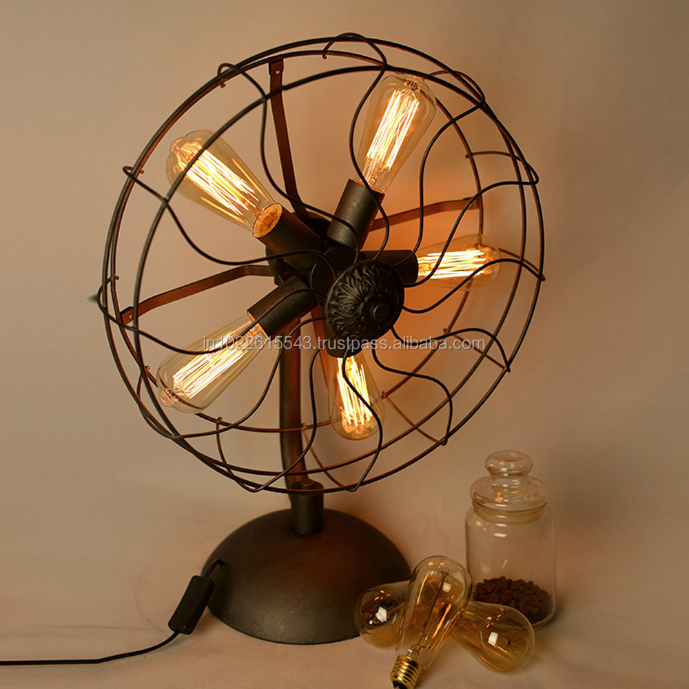 Industrial Vintage Metal Table Lamp Antique Metal Table Fan Lamp