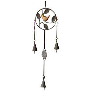 TOOGOO(R) Vintage metal wind chimes bird home wall decoration (Gray one bird)