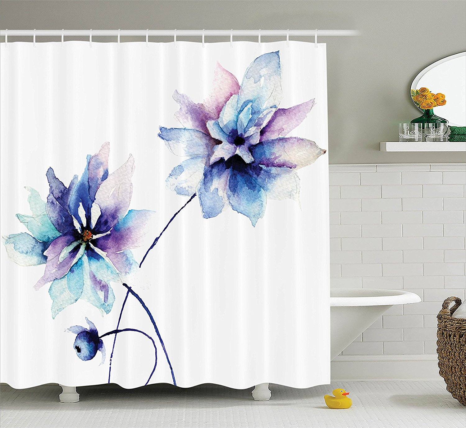 Watercolor Flower Decor Shower Curtain by Ambesonne, Elegant Flower Drawing with Soft Spring Colors Retro Style Floral Art, Fabric Bathroom Set with Hooks, 69W X 70L Inches Long, White Purple and Blue