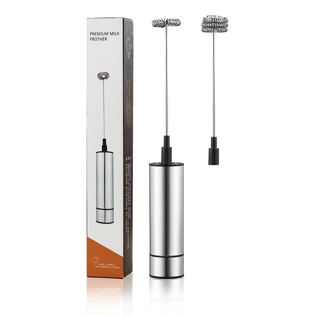 Amisq Milk Frother Stainless Steel Electric Handheld Kitchen Double Spring Whisk Head Powerful Electric Milk Frother for Hot Chocolate Milk Coffee Foamer Tea Bar Cappuccino Latte Maker
