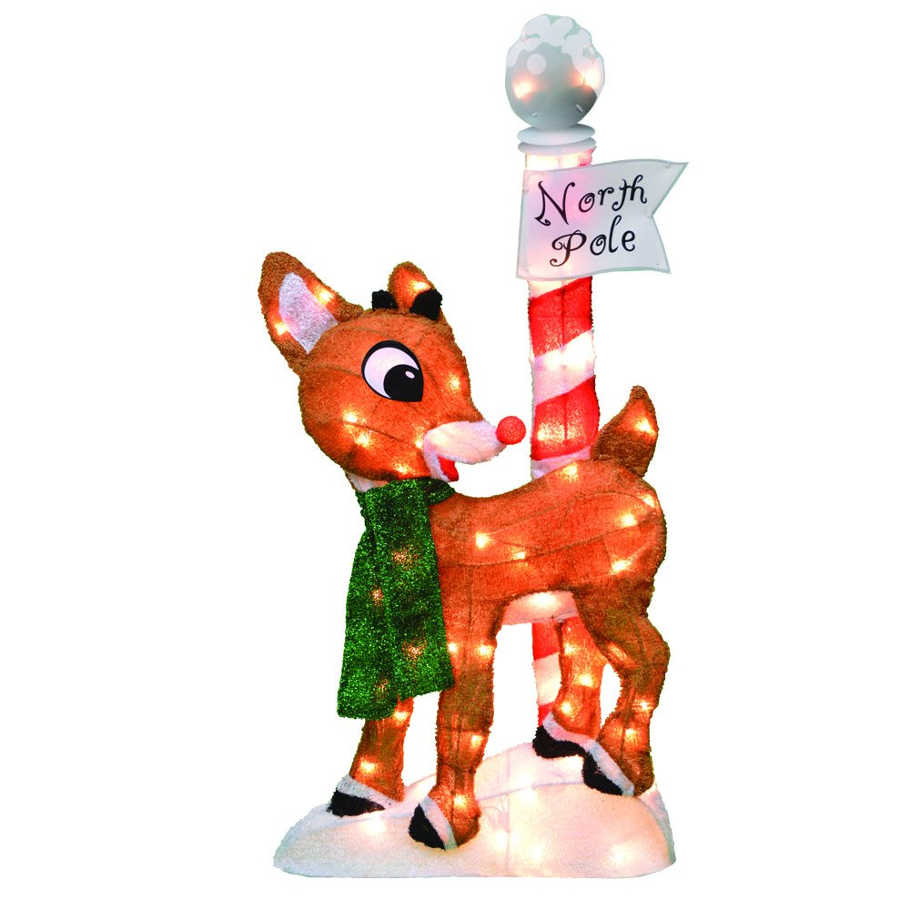 productworks 32-Inch Pre-Lit Rudolph the Red-Nosed Reindeer Christmas Yard Decoration, 70 Lights