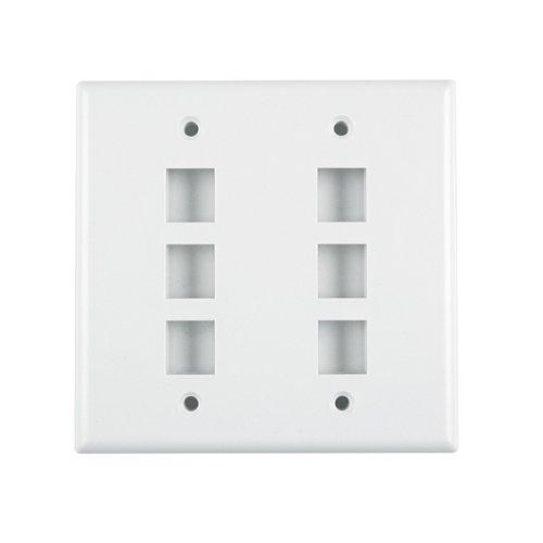 Hellermann Tyton FPDGSIX-FW Dual Gang 6 Port Flush Mount Faceplate, ABS 94V-0, Office White