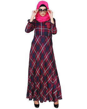 Dubai Abaya Dress Dark Blue & Pink checks Printed Maxi Dress Muslim Dress Islamic Clothing