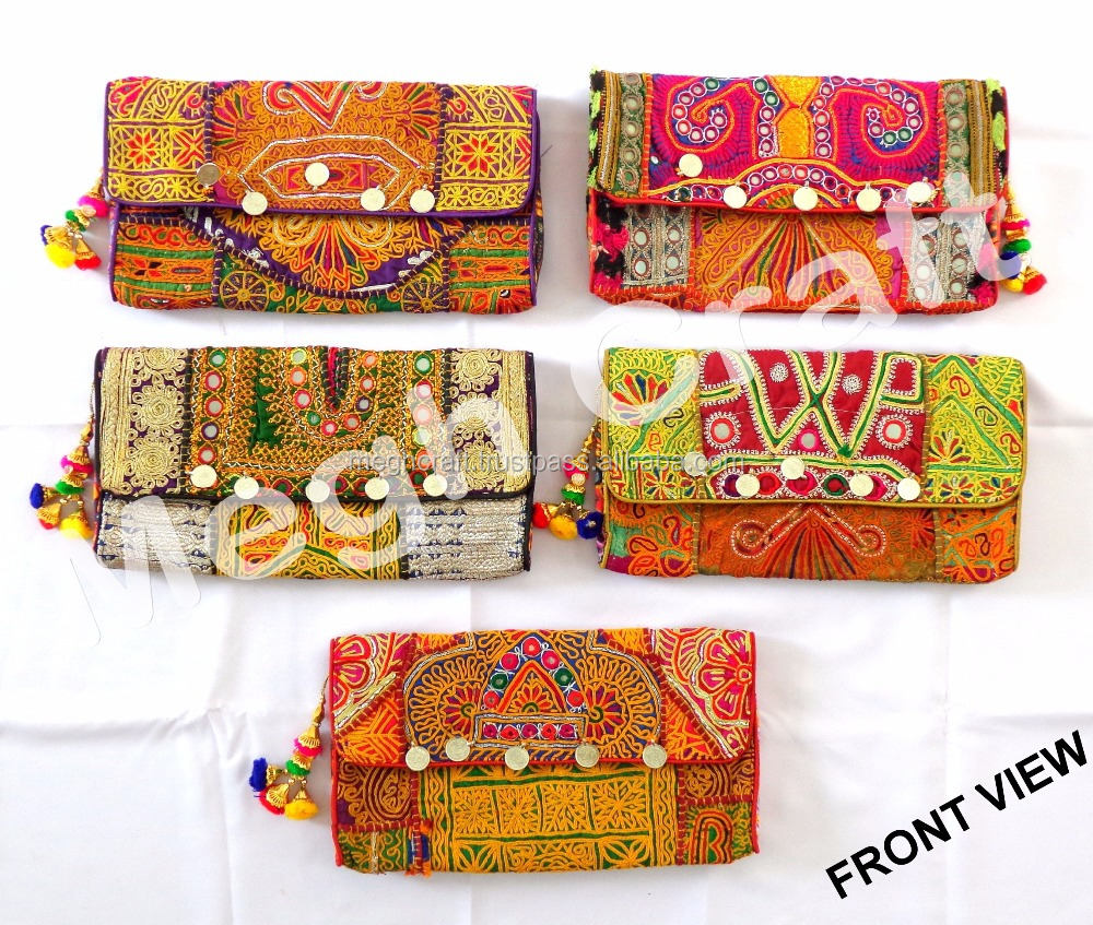 Wholesale Indian Banjara coin Clutch Bag -Gypsy coin Clutch Bag - Indian Gypsy Banjara hippie Style Purse