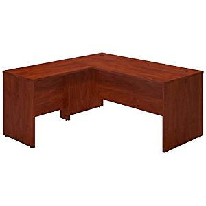 """Bush L-Shaped Desk Shell 66""""W X 65""""D X 30""""H Features Thermally Fused Laminate Work Surfaces, 1"""" Thick Top & End Panels & Includes Grommets For Wire Management - Hansen Cherry"""