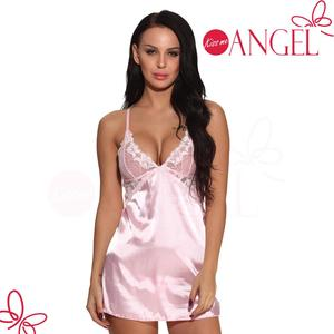 Erotic seductive lace breast lovely pink crisscross belt back transparent lingerie sexy babydoll