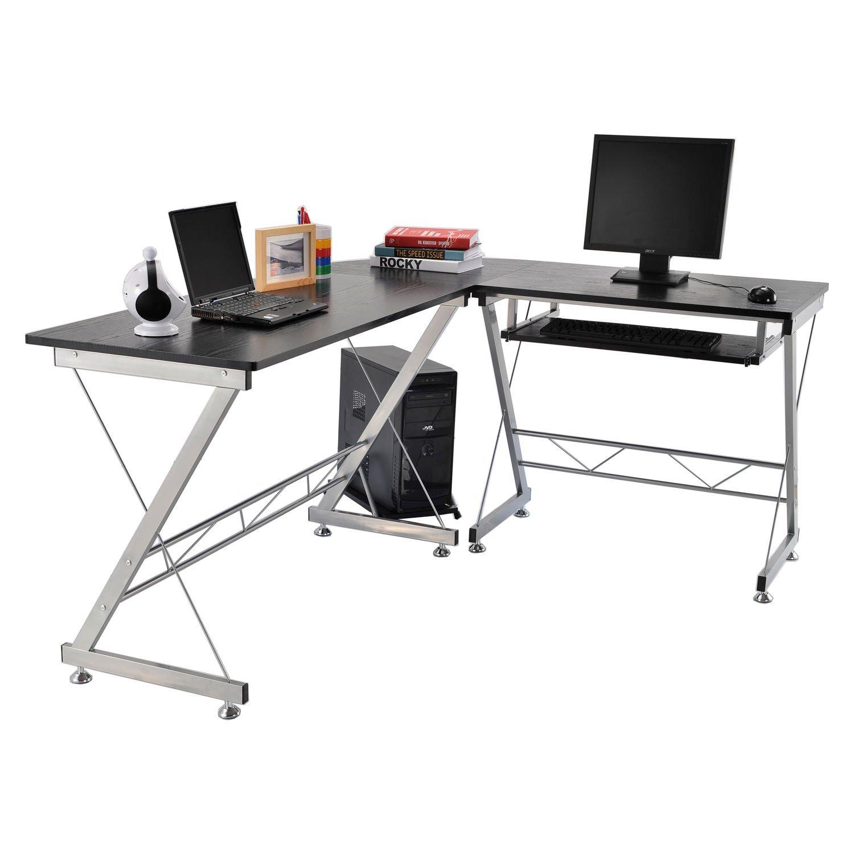 New MTN-G L-shaped Corner Home Office Computer Desk Workstation w/Keyboard Tray-Black