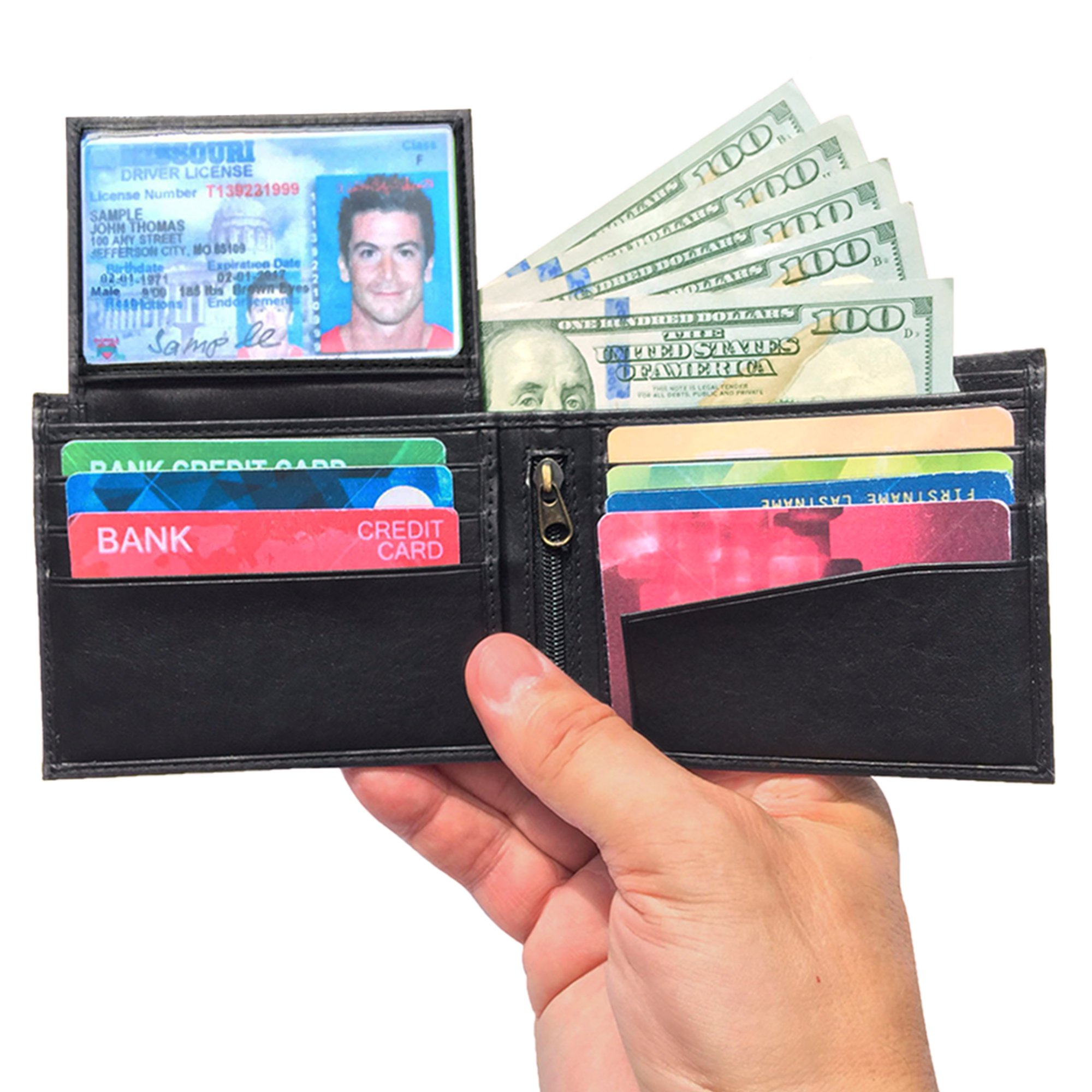 Run2Win Safety, RFID Blocking Wallet for Men, Slim Design, Genuine Leather, Great Credit Card Protection, Classic Black, Zippered Coin Pocket, Extra Capacity, Father's Day Gift, Mans Bifold