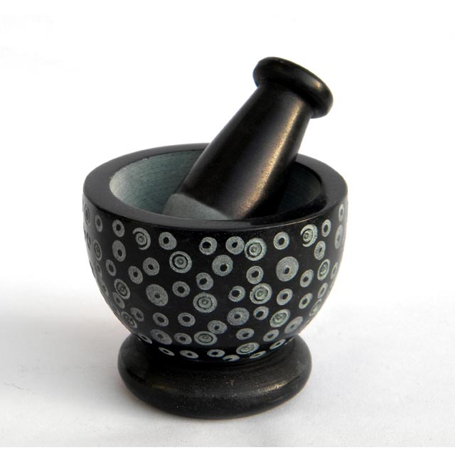 Hand crafted Handmade Indian Crusher and Grinder For Houseware Household Eco-friendly Natural Soapstone Mini Mortar and pestle