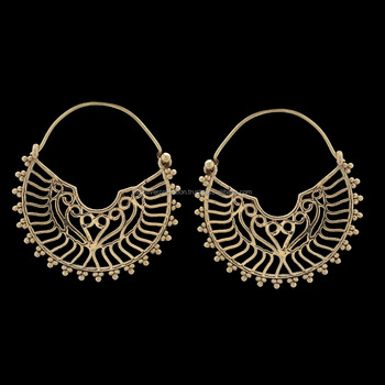 1f6ff2187 Bohemian Brass Hoop Earrings Tribal Indian Handmade Jewellery ...