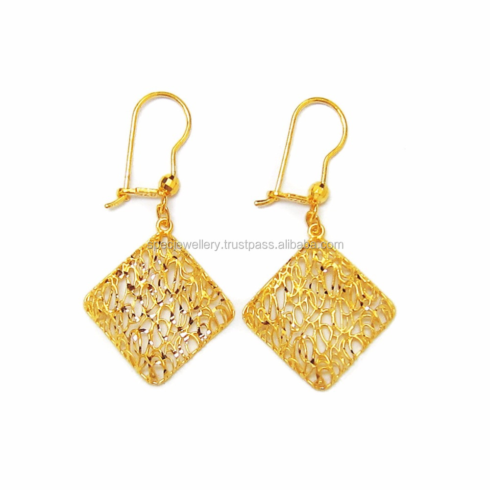 83bcbc882ebee Dubai Middle East Arabic Pure Gold Jewelry Light Weight 18k 21k 22k Fine  Yellow Gold Earrings