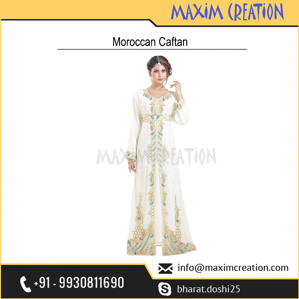 Royal Party Wear Wedding Gown Kaftan Dress With Exclusive Embroidery Design 6579