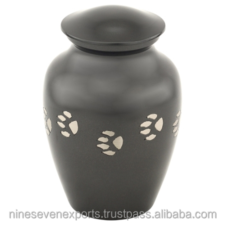 Dark Gray with Silver Paw Prints Medium Pet Urn