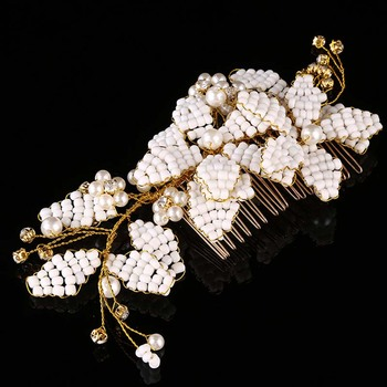 AP40026 Wholesale handmade  ivory white beads wedding hair accessories crystal bridal hair comb jewelry