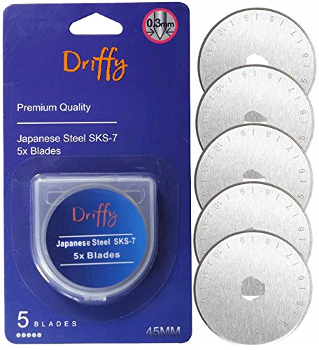 Driffy Rotary Cutter Blades 45mm 5-PACK Compatible with, Fiskars, Olfa Blades, Truecut, Clover and Dafa. Suits a Cutting Mat. Quilting Accessories and Craft Supplies.
