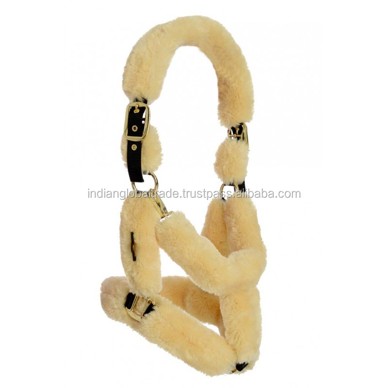 Sheepskin Cover Leather Horse Halters from India | Sheepskin Leather Halter