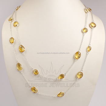 925 Sterling Silver Jewellery Natural MULTI STONES Gemstone BEZAL Necklace 18, 20, 24, 26, 28, 30, 36 Inches