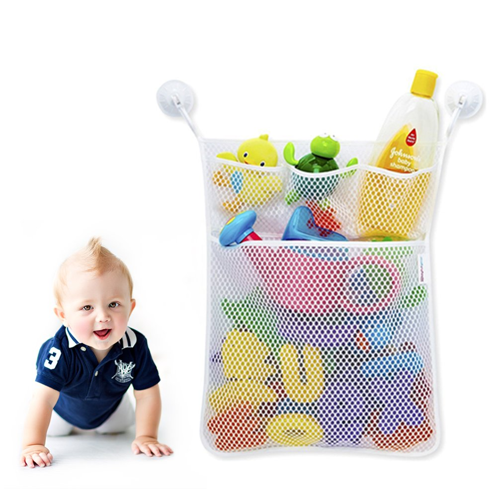 Baby Bath Toy Organizer Quick Dry Mesh Net - Massive Storage Bin Suction Cups,Bath Tub Toy Storage Mesh Bag+4 Lever Lock Suction Cups - 100% Guaranteed for Life (white)
