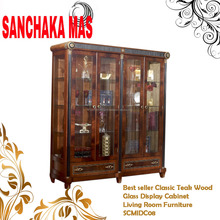 Best seller Classic Teak Wood Glass Display Cabinet Living Room Furniture