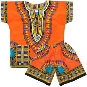 African Kids Dashiki Shirt Dress for boys girls top shorts