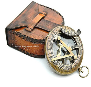 Nautical Collectibles Brass Sundial Compass With Handmade Leather Case