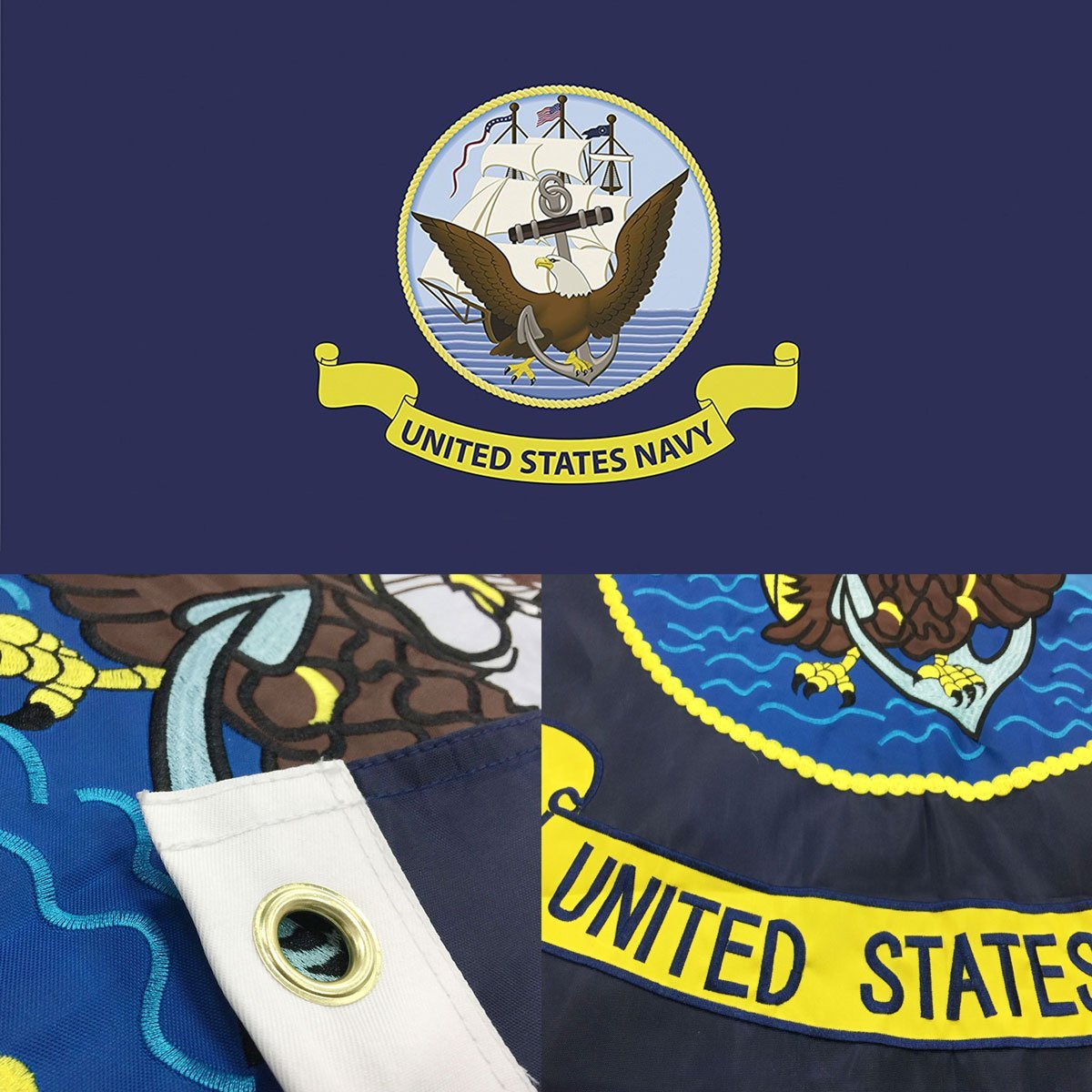 b48a5f042a4e Get Quotations · US Navy Flag 3x5 Ft - Double Sided Embroidered