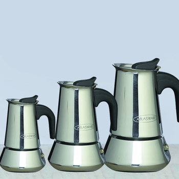 Atlasware Stainless Steel Coffee Maker 2 cup, 4 cup & 6 cup