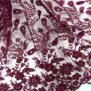 French lace crystal beaded fabric wine red pearl beads embroidery designs african sequins tulle lace fabrics 5 yard HY0806-4