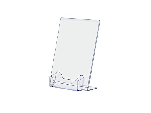 """Marketing Holders Clear Acrylic 5"""" x 7"""" Sign Holder with Business Card Display for Tabletop Use, L-Shaped Design with Slant Back Sold in Lots of 10"""