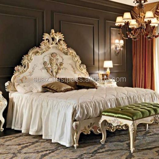 Full Size Pillar Bed Elegant Carved Wood Beds Khaki Wood King Size