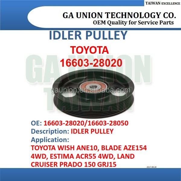 Timing Belt Tensioner pulley v-ribbed belt IDLER PULLEY 16603-28020  16603-28050 for WISH ANE10, View Belt Tensioner, 16603-28020 16603-28050  Product