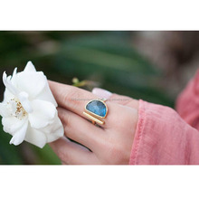 New Model Wedding Fashion Gold Plated Labradorite Gemstone Rings