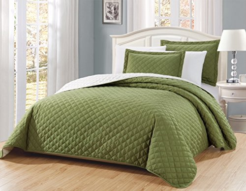 "Fancy Linen 3pc Solid Diamond Quilted Bedspread Sage Green New # Ontario King/California King Over size 118"" x 106"""