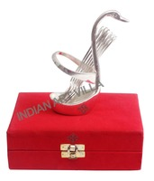 Indian art villa silver plated cutlery set with duck design stand