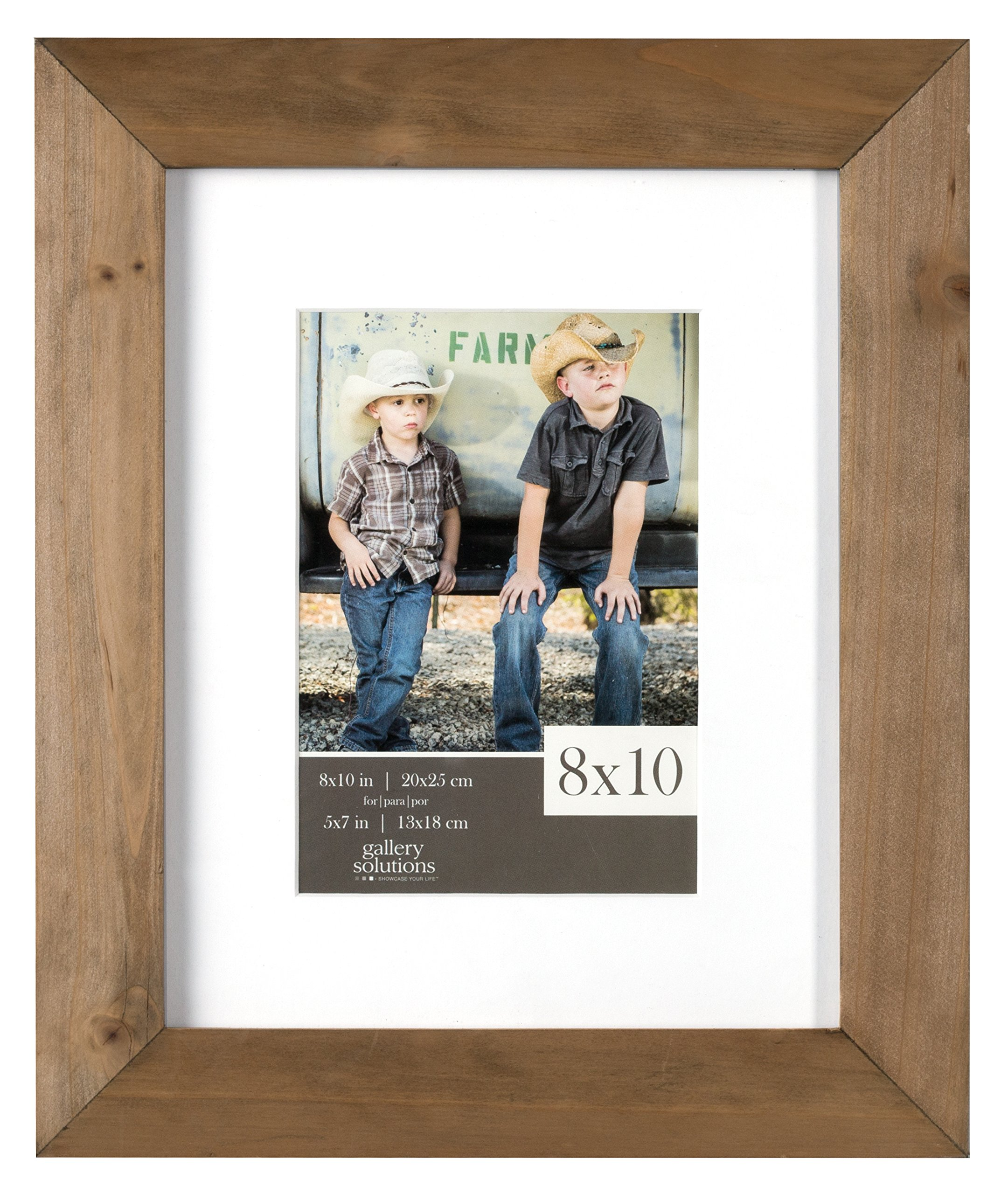 Gallery Solutions 8x10 Flat Ash Wood Wall Picture Frame with White Mat For 5x7 Image