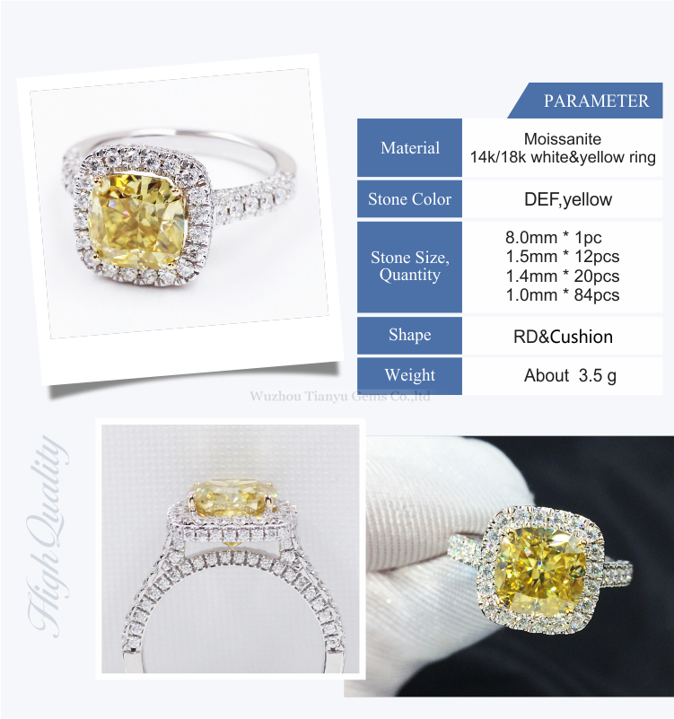 Tianyu gems cushion modified brilliant crushed ice cut 8mm moissanite 18K gold wedding yellow moissanite square ring