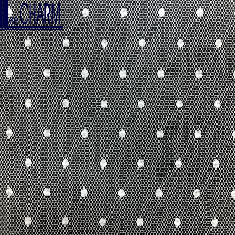 LCSH530 Quality 100% Polyester White Polka Dot Tulle Fabric